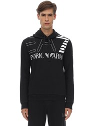 Emporio Armani Train Logo Cotton Blend Hoodie Black