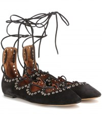 Isabel Marant Leo Embellished Suede Lace Up Ballerinas Black