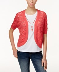 Alfred Dunner Petite Layered Look With Necklace Top Coral