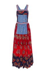 Ulla Johnson Lune Patchwork Floral Crossback Dress Multi