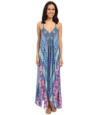 Hale Bob Hide And Go Chic Maxi Dress With Handkerchief Hem Detail Blue Women's Dress