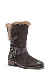 Andrew Marc New York Women's Hudson Genuine Rabbit Fur Boot Dark Brown Suede