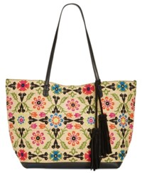 Inc International Concepts Maisie Embroidered Tote Only At Macy's Black Multi