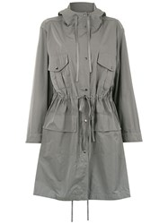 Gloria Coelho Hooded Trench Coat Grey