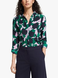 Boden The Clematis Forest Silk Shirt Green Multi