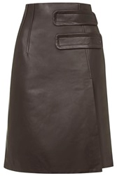 Inverness Leather Skirt By Unique Dark Brown