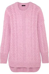 J.Crew Norton Cable Knit Cashmere And Mohair Blend Tunic Pink