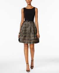 Jessica Howard Petite Illusion Striped Belted Fit And Flare Dress Butternut