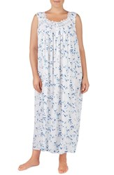 Eileen West Plus Size Woven Nightgown White Ground With Viney Floral