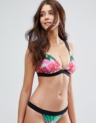 Asos Fuller Bust Reflection Flower Print Deep Triangle Bikini Top Dd G Reflection Print Multi