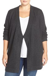 Eileen Fisher Cashmere Drape Front Cardigan Plus Size Charcoal Black