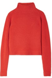 The Elder Statesman Highland Cropped Cashmere Turtleneck Sweater Orange
