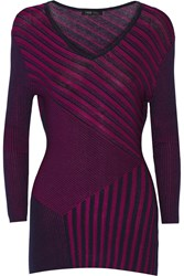 Ohne Titel Ribbed Textured Cotton Blend Top Purple