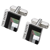 Ted Baker Burro Art Deco Style Square Cufflinks Black