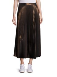 A.L.C. Bobby Pleated Metallic Skirt Rose Gold