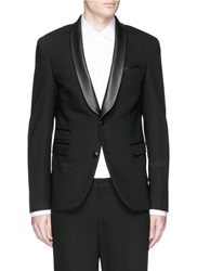 Neil Barrett Leather Shawl Lapel Skinny Fit Tuxedo Blazer Black