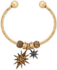 Lucky Brand Two Tone Pave Star Charm Cuff Bracelet Two Tone