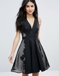 Forever Unique Deep V Skater Dress Black