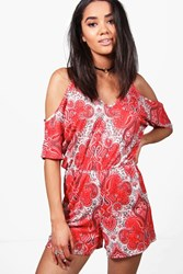 Boohoo Petite Lizzie Paisley Print Cold Shoulder Playsuit Red