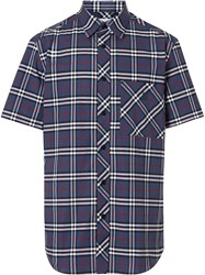 Burberry Short Sleeve Small Scale Check Stretch Cotton Shirt Multicolour