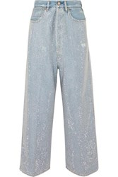 Golden Goose Breezy Cropped Studded High Rise Wide Leg Jeans Mid Denim