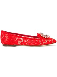 Dolce And Gabbana Vally Embellished Lace Loafers Women Cotton Leather Polyamide Viscose 37 Red