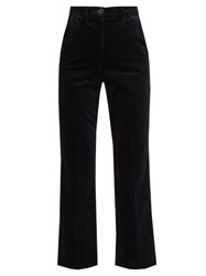 Mih Jeans Coler High Rise Cropped Velvet Flared Trousers Navy