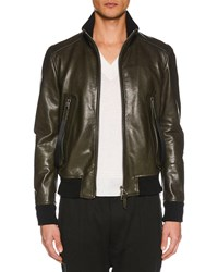 Tom Ford Funnel Neck Blouson Leather Jacket Dark Green