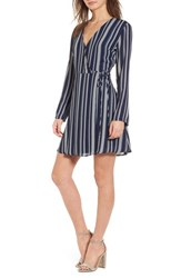 Lush 'S Elly Wrap Dress Navy Stripe
