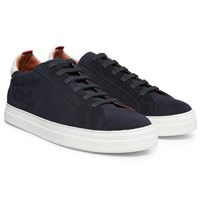 Oliver Spencer Ambleside Leather Trimmed Suede Sneakers Navy