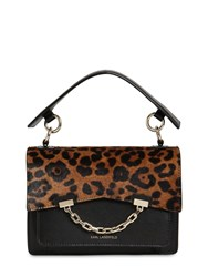 Karl Lagerfeld Seven Ponyskin And Faux Leather Bag Black