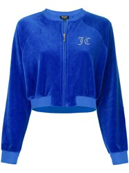 Juicy Couture Swarovski Personalisable Velour Crop Jacket Blue