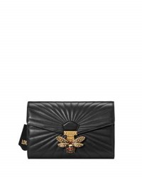 Gucci Linea Quilted Leather Bee Clutch Bag Black Red