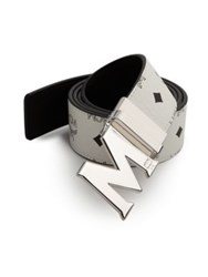Mcm Visetos Round Reversible M Belt White