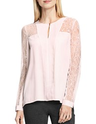 Vince Camuto Long Sleeve Lace Trimmed Blouse Pink