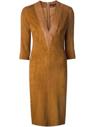 Jitrois Deep V Neck Fitted Dress Brown