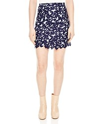 Sandro Loomy Lace Mini Skirt Navy Blue
