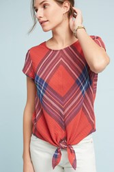 Anthropologie Plaid Tie Front Blouse Red Motif