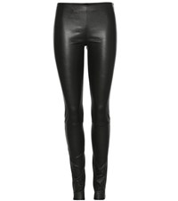 The Row Moto Leather Leggings Black