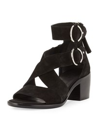Rag And Bone Mari Suede Strappy Flat Sandal Black