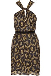 Isabel Marant Tevy Cutout Printed Checked Mousseline Mini Dress Yellow