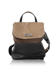 Carven Full Joy Color Block Suede And Leather Large Backpack Shoulder Bag Brown