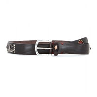 Fausto Colato Embellished Leather Belt Caffe Strass Multi