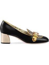 Gucci Leather And Gg Supreme Mid Heel Pumps Leather Crystal Canvas Black