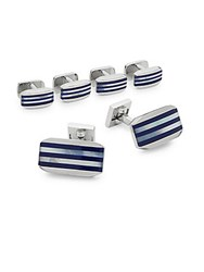 Ike By Ike Behar Stripe Cufflink Set Blue