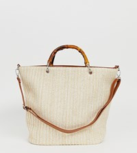 Glamorous Natural Woven Shopper Bag With Bamboo Grab Handle Beige