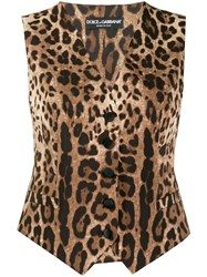 Dolce And Gabbana Leopard Print Waistcoat Brown