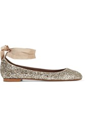 Tabitha Simmons Daria Lace Up Glittered Leather Ballet Flats Silver