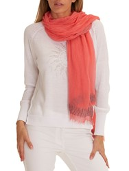 Betty Barclay Long Fringed Scarf Peach Coral