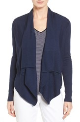 Nordstrom Women's Collection Cashmere Drape Front Cardigan Navy Medieval